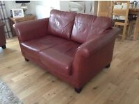 Leather suite - two seater settee/sofa and 2 armchairs