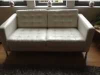 IKEA Karstad White/cream leather 2-seater leather sofa - excellent condition