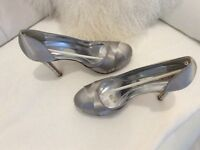 Silver satin shoes