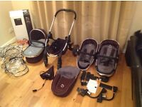 Icandy peach, black jack ( black/brown and grey ) full travel system car seat base and changing bag
