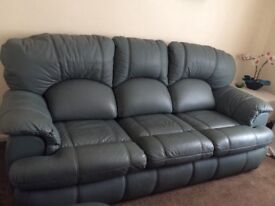 Leather Settee, Sage green, 3 seater settee, excellent condition and lived in arm chair.