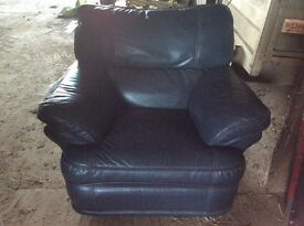 Faux leather recliner armchair (marks tey essex)