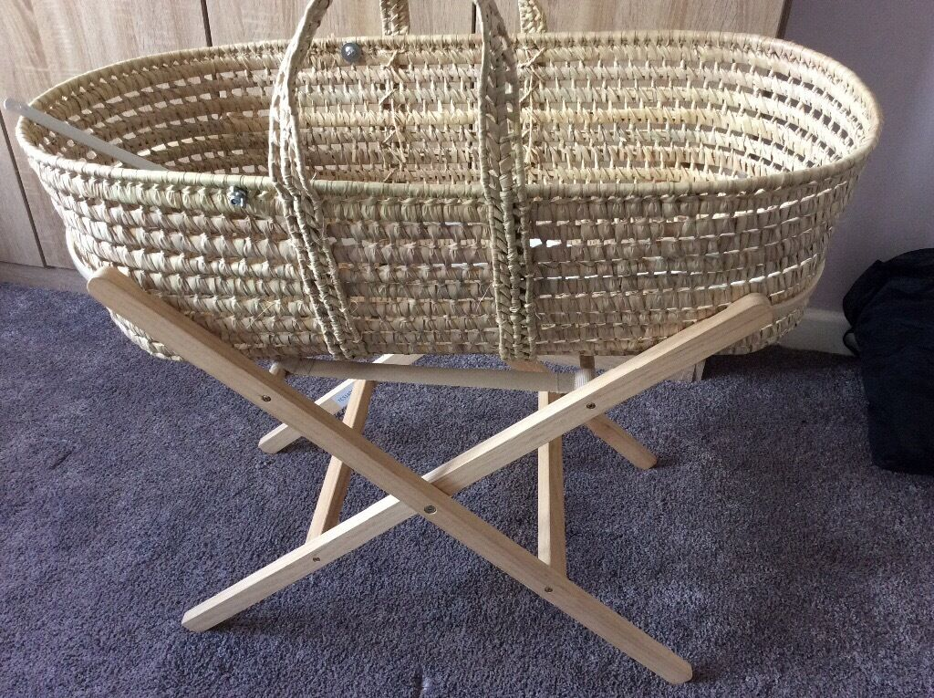 moses basket stand and wicker basket with hood connectors. Black Bedroom Furniture Sets. Home Design Ideas
