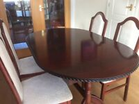 Immaculate, extending Dining Table and four Chairs