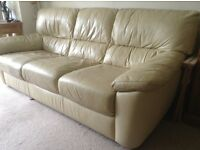 2 and 3 seater oyster coloured Leather Sofas