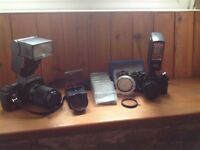 Canon T70 and Cosina CT-1A 35mm SLR Cameras, Flash and Lens Filters