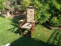 UPHOLSTERED OLD ROCKING CHAIR