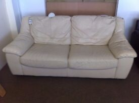 GOOD CONDITION! Cream leather 2-3 seater sofa settee