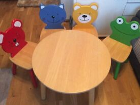 Pintoy/John crane kids table and 4 chairs