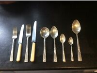 50 piece cutlery set. 6 place settings, 2 serving spoons. Vintage Rose design, Smith Seymour.