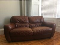 SOFITALIA Super comfortable Italian tan leather 2 seater sofa and club chair