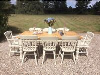 Shabby Chic Solid Pine 6' Farmhouse Dining Table with 8 Chairs
