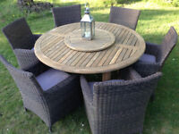 Large Six Seater Teak Garden Table + 6 Rattan Chairs with Cushions