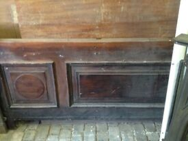Mahogany bank counter approx 20ft (L) 4ft (W)
