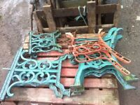 cast iron bench and table end s