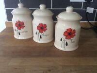 Coffee,sugar,tea,jars lovely set