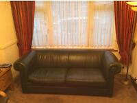 IKEA Green leather morden chesterfield style 3 seater sofa