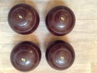 Set (4) THOMAS TAYLOR LAWN BOWLS SIZE 0, BROWN