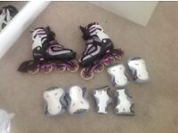 Inline skates and protective pads