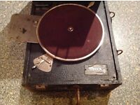DECCA wind up record player, in need of restoration, donated for LOCAL cancer charity funds. OVNO..