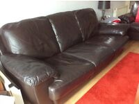 Brown real leather 3 & 2 seater sofas very good condition waiting on new sofa being delivered