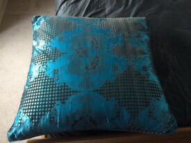 Brown and blue very large cushion