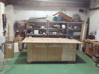Work bench space for rent in cabinet makers shop