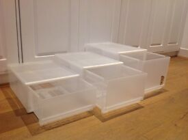 MUJI stackable PP storage boxes with drawers. Almost new. 3 sizes