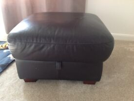 DFS brown leather footstool with storage - good condition