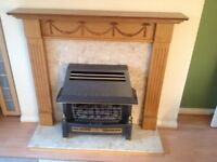 Flavel gas fire with marble back and plinth with wooden surround