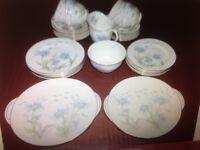 Royal Doulton 1930's Art Deco Porcelain China 40 Piece Tea Set in Marguerite, Blue Flower Design