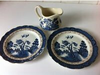 2 vintage pottery Real Old Willow antique plates + 1 jug