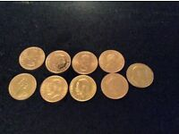 Gold sovereigns x 9