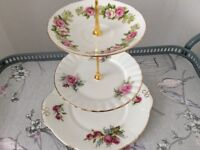 Bone China 3 Tier Cake Stand Pink and Green Floral
