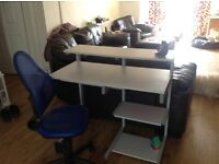 Strong Computer Desk and Staples Chair.
