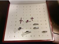 Stirling silver rings and pendents and earrings in ring box