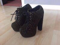 Platform Gold and Black Velvet Heels