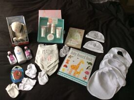 Mum to be baby bundle brand new, book, bibs, toys, smellies