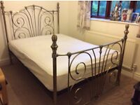 Antique finish Metal double bed frame