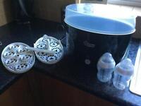 Black Tommee Tippee electric steriliser + 2 bottles