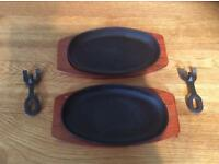2 Cast Iron Sizzling Skillets