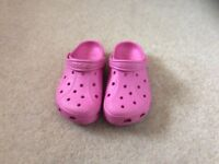 Girls pink original crocs size3
