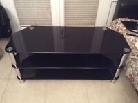 TV Stand - 3 Tier TV stand with black glass - Superb Condition