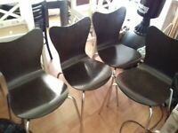 FREE DELIVERY MOBLELARIS WALNUT DINNING CHAIRS BARGAIN £40 FOR THE 4