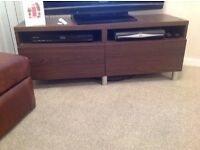 Ikea dark wood TV stand with two drawers and two shelves for DVD or sky box