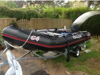 Excellent condition black Bombard with trailer and built in battery winch and extras 20hp Yamaha