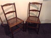 Pair of Oak Vintage Bergere Chairs