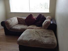Corner settee -fabric & leather