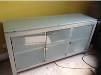 Grey metal sideboard with frosted glass