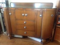 Wooden sideboard with glass top